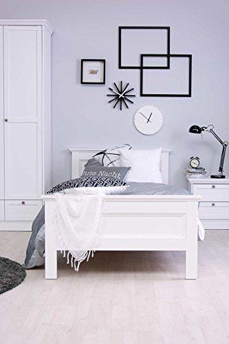 Bett in weiß, Fuß- und Kopfteil in Rahmenoptik, umlaufende Profilleiste, Profil-Abschlussleisten, Liegefläche ca. 90 x 200 cm