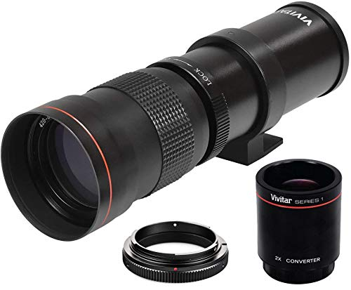 High-Power 420-1600mm f/8.3 HD Manual Telephoto Zoom Lens for Canon EOS 80D, EOS 90D, Rebel T3, T3i, T5, T5i, T6i, T6s…