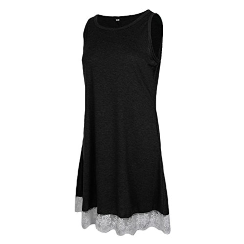 negro Plisado Oscilación Ropa Vintage Abierta Playa Sharplace brand Encaje V Vestido Flojo Hermoso 50s non Encaje Midi a08BHFq