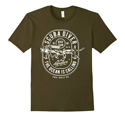Scuba Diving Costume (Mens Scuba diver - The ocean is calling and i must go T-shirt Large Olive)