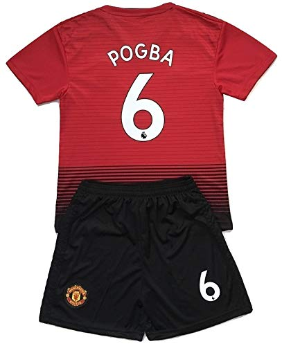 Gadzhinski2017 Pogba #6 Manchester United 2018-2019 Kids/Youths Home Soccer Jersey & Shorts (9-10 Years Old)