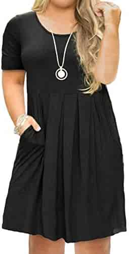 ae1272baee54 FOLUNSI Women's Plus Size Casual Short Sleeve/Long Sleeve Pleated T Shirt  Dress with Pockets