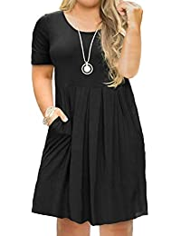 e761357a39 Women s Plus Size Casual Short Sleeve Long Sleeve Pleated T Shirt Dress  with Pockets