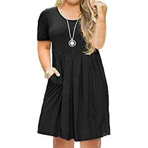 FOLUNSI Women's Plus Size Short Sleeve Pleated Casual Shirt Dress with Pockets