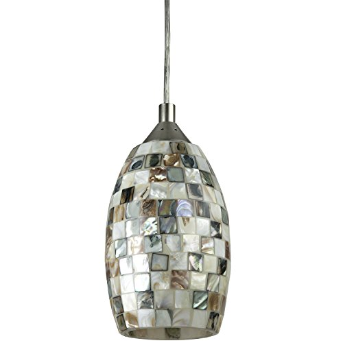 Sunlite LFX/DSG/PD/D/9W/VEN 11 Inch LED Designers Glass Decorative Pendants Dimmable Fixture, Brushed Nickel Finish, Venice