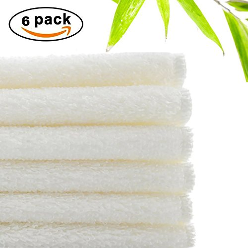 Bamboo Fiber Dish Towels, Super Absorbent Anti-Oil Dishcloths by WEREACH, Easy Cleaned Antibacterial Kitchen Rags (9 x 7 Inch, White, 6 Pack) Bamboo Dish Cloth