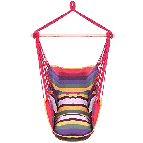 Teeker Cotton Hanging Rope Chair Distinctive Cotton Canvas Hanging Rope Chair with Pillows (Rainbow)