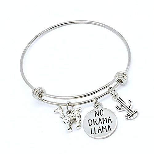 No Drama Llama, Fun Expandable Bangle Bracelet with -