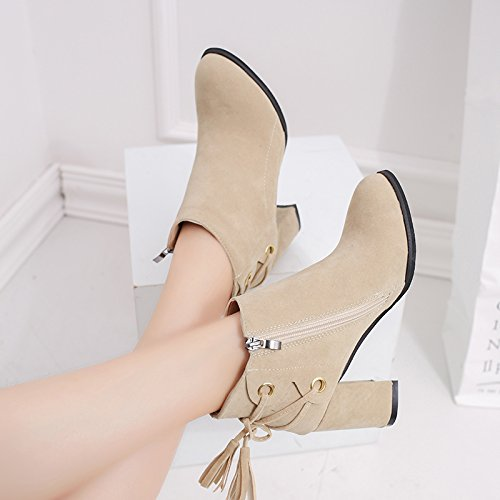KHSKX-High Heel Heel Shoes White Martin Boots With White Boots And Bare Boots With Grit Thirty-seven 9j2y7WSw