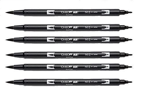 Tombow Dual Brush Pen, Black (66621) Pack of 6 pcs.