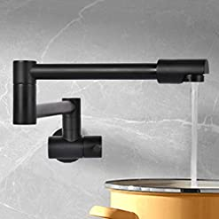 Kitchen VALISY Modern Lead-free Solid Brass 1 Hole Single Handle Matte Black Wall Mount Pot Filler Faucet,Copper Faucets for… modern sink faucets