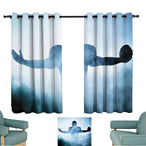 DILITECK Warm Curtain Football Decor Heroic Shaped Rugby Player Silhouette Shadow Standing in Fog Playground Global Sports Photo Noise Reducing Curtain W72 xL72 Blue