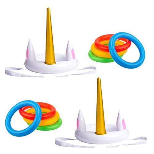 luck sea Unicorn Inflatable Ring Toss Game - Pool Party Toys Supplies Favors Decorations