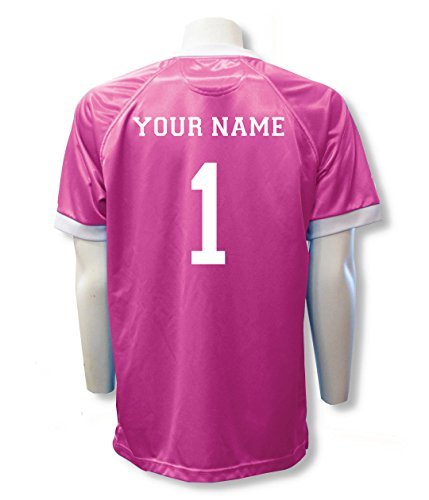 Short Sleeve Goalie Jersey Personalized with Your Name and Number (with free keeper pin) - size Adult L - Pink