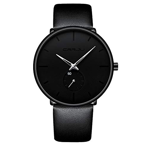 Men's Watch Unisex Minimalist Watch Waterproof Watch Military Watch Classic Gift Leather Strap with Silver Pointer(Leather)