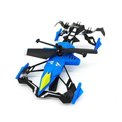 Kids Toys ,Mini Portable RC Quadcopter Air Ground Drone 2.4G 2.5CH RC Sports Car & Air Race (Blue)
