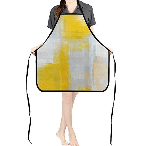 (Apron Men Women for Kitchen Grey Yellow Art Paint Cooking,Chef,BBQ, and Grill)