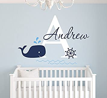Custom Whale Name Wall Decal   Baby Whale Room Decor   Nursery Wall Decals    Nautical Part 75