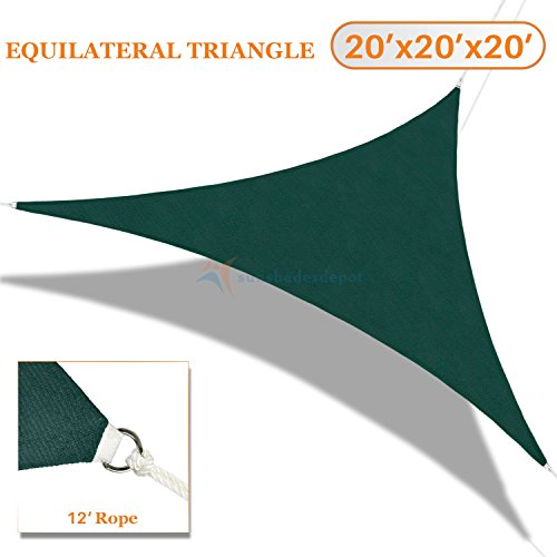 Sunshades Depot Equilateral Triangle 20' x 20' x 20' Sun Shade Sail Permeable Canopy Dark Green Customize Size Available Commercial Standard 180 GSM HDPE (Sunshade Canopy Sail)