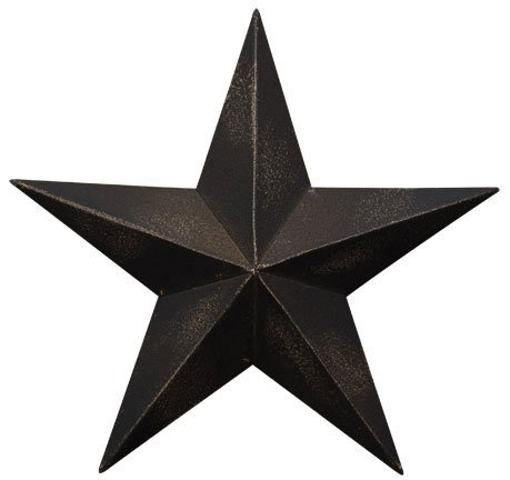 Dimensional Steel Metal Barn Star, 12-inch, Black Antique Matte Finish, Lightly Distressed by Home Collection