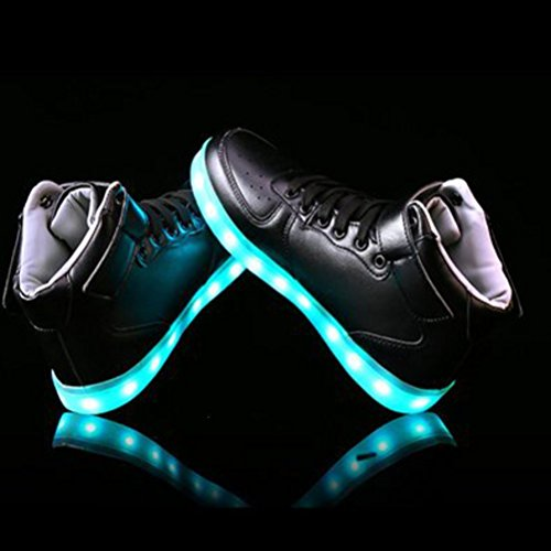 [Present:small towel]JUNGLEST® 7 Colors Led Trainers High Top Light Up Shoes For Unis Black z4e8Ms