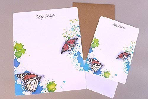Complete Women's Writing Paper & Flat Note Card Stationery Set, Watercolor Monarch Butterflies, Girl's Personalized Stationary, Garden Inspired Monogrammed Letter Writing Kit, Custom Stationery ()