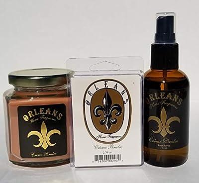 Orleans Home Fragrances Bundle - 9oz Candle, Room Spray, and Wax Melt - Creme Brulee