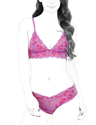Avidlove Lingerie for Women 2 Piece Sexy Bra and Panty Sets Lace Babydoll Bodysuit Violet M (2 Piece Sexy Baby Doll)