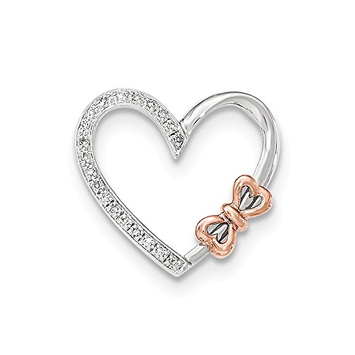 Diamond Bow Necklace - Jewelry Stores Network 14K White Gold Two Toned Diamond Polished Heart Bow Pendant (0.07 cttw, I1 Clarity, H-I Color)