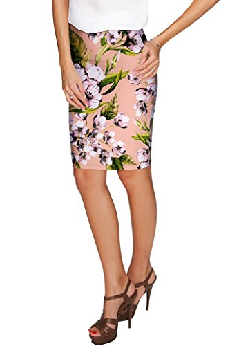 PINEAPPLE CLOTHING Ooh Darling Carol Beige Floral Stretch Pencil Skirt-Women (Darling Floral Skirt)