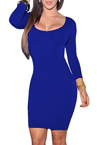 VOGRACE Women's Scoop Neck 3/4 Sleeve Bodycon Pencil Dress Party Mini Dress XL Royal Blue (Dress Blue Womens Royal)