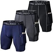 LUWELL PRO Men's 3 Pack Compression Shorts Baselayer Cool Dry Sports Tights Athletic Undershorts for Runni