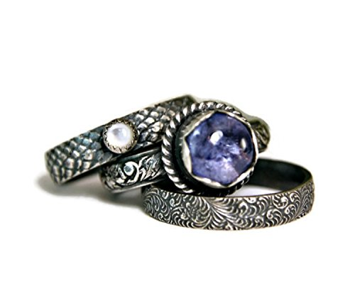 Pattern Tanzanite Ring - Tanzanite Stacking ,Mother of Pearl Blue Stone Ring