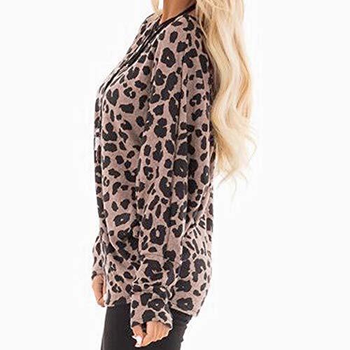 Marron Blouse Mode Chic Top Lâche Casual Dames Shirt Chemisier Manches T T Femme Léopard Beikoard de Shirt Haut à Longues qHxpRXwwU