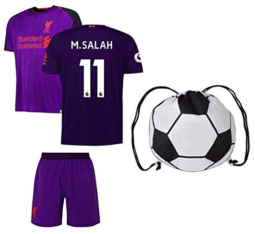 Rhinox Liverpool Salah #11 Youth Soccer Jersey Away Short Sleeve Kit Shorts Kids Gift Set (YS 6-8 Years, Gift Set)