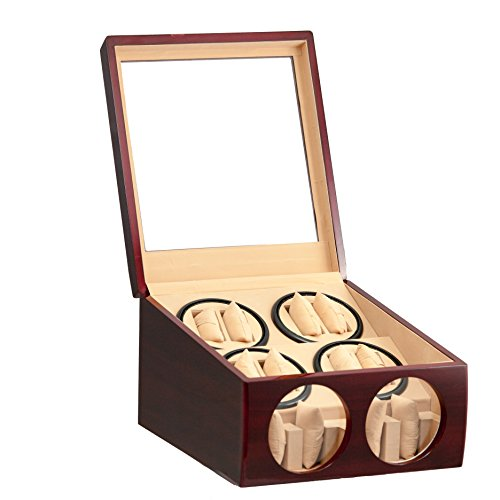 Brand New 8+4 Automatic Rotation Red Wood Quad Watch Winder Storage Display Case Box (New Quad Watch Winder)