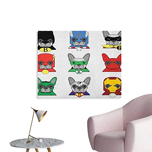 Anzhutwelve Superhero Wall Sticker Decals Bulldog Superheroes Fun Cartoon Puppies in Disguise Costume Dogs with Masks Print Poster Print Multicolor W36 xL24