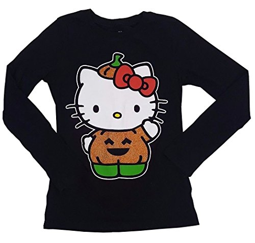 SANRIO Girls' Halloween Pumpkin Hello Kitty Long Sleeve Shirt (Medium, Black) (Sweatshirt Pumpkin Kids)
