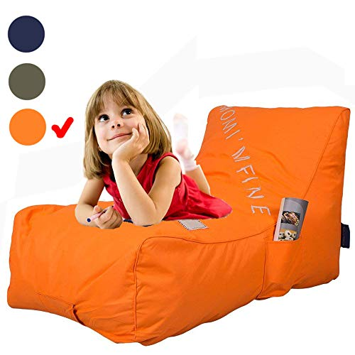 Livebest Kids Bean Bag Chair - Floor Chair Couch Lazy Lounger Memory Foam Sofa with Dirt-Proof Oxford Fabric&Side Pocket for Kids Age 2 and Up,MOM I'm FINE, Orange (Bean Bag Chair Orange)