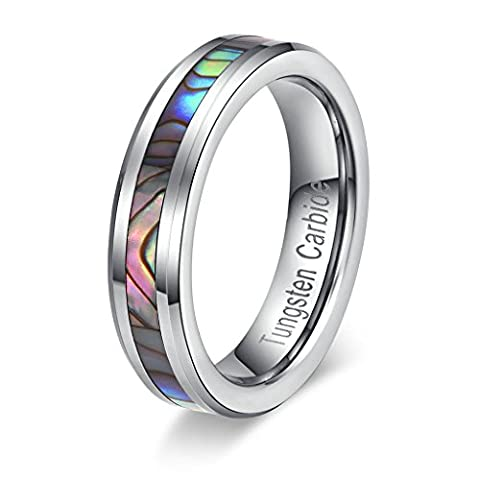 Tianyi Women's 5MM Tungsten Carbide Ring Abalone Shell Inlay Polished Wedding Engagement Band Size (Abalone Inlay Band Ring)