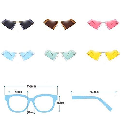 ojo montura sin unisex gato Polygon de Doble Gafas Gafas sol Té lente Gafas de Inlefen pqO0S