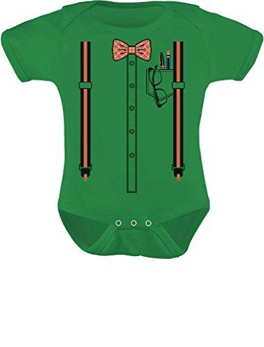 TeeStars - Halloween Nerd Suspenders Bowtie Geek Easy Costume Baby Bodysuit 24M (18-24M) Green