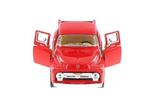 1956 Ford F-100 Pickup Truck, Red - Kinsmart 5385D - 1/38 Scale Diecast Model Toy Car (1956 Ford Truck)