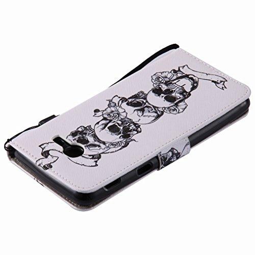 Yiizy Samsung Galaxy J5 (2017) Custodia Cover, Cranio Design Sottile Flip Portafoglio PU Pelle Cuoio Copertura Shell Case Slot Schede Cavalletto Stile Libro Bumper Protettivo Borsa
