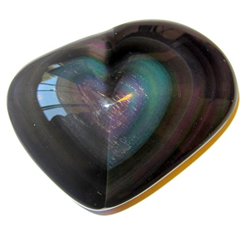 Obsidian Heart Rainbow 52 Pink Green Chakra Crystal Pretty Love Gift Stone Mineral, Exact One 2.7'' by SatinCrystals
