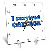 3dRose Student Humor - I Survived College Blue - 6x6 Desk Clock (dc_274507_1)