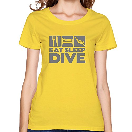 StaBe Women Eat Sleep Dive T-Shirt Slim Fit Hot Topic XXL Yellow