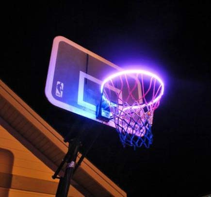 WETONG LED Basketball Hoop Lights – Basketball Rim LED Light Swish – Perfect for Playing at Night Outdoors – Ideal for Kids Adults Training Games 3 on 3 Lights up Basketball Rim