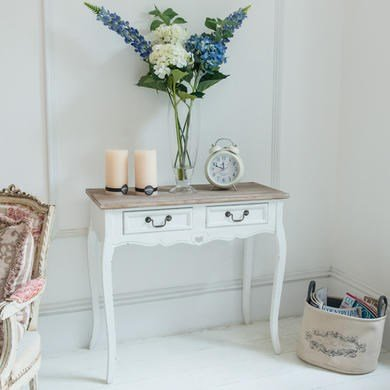 Maine Furniture Co Vermont 2 Drawer Shabby Chic French Style 2 Drawer Hall Console Table in Distressed White