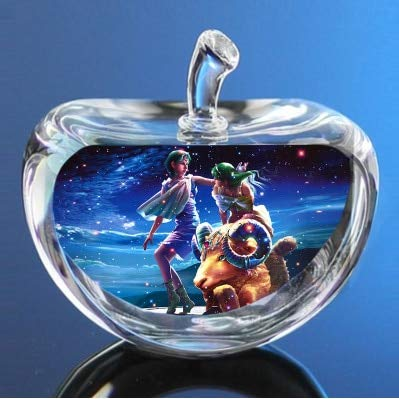 Gold Happy 12 Constellations Statuettes Crystal Glass Apple Figurines Miniature Angel Figurine Ornaments Home Decoration Accessories
